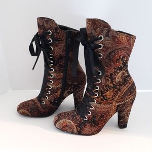 Spiegel boots paisley print ribbon laced size 5B